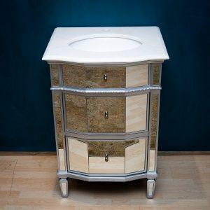 Silver Mirrored Bathroom Vanity